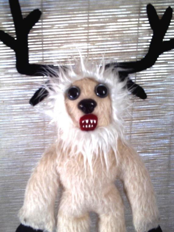 OOAK White Wendigo Plush Art Doll