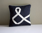 Ampersand & pillow cushion navy linen white ribbon lettering typography embroidered memake handmade home decor