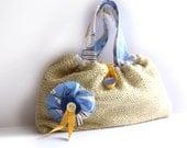 RESERVED FOR JR Primrose yellow knitted bag blue floral purse fabric flower linen memake handmade