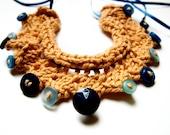 Mustard yellow knitted necklace blue buttons cotton yarn satin ribbon memake handmade fashion accessory