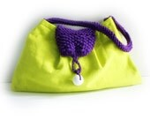 Neon bag bright green linen cotton purse chartreuse bag knitted purple details memake handmade fashion handbag