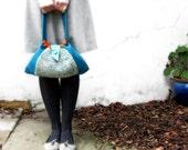 Knitted bag teal blue wool purse orange cotton aqua leather memake handmade handbag fashion