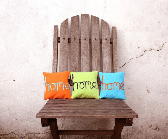 home embroidered word pillow orange ribbon lettering typography turquoise cotton cushion memake handmade home decor
