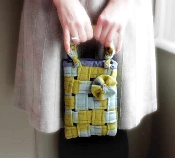 Woven wool bag blue olive green purse small tote handbag recycled wool memake handmade fashion