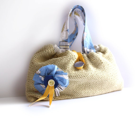 RESERVED FOR JR Primrose yellow knitted bag blue floral purse fabric flower linen memake handmade