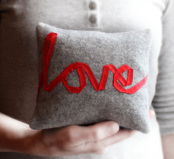 Love word pillow little cushion embroidered red ribbon lettering typography grey wool memake handmade home decor