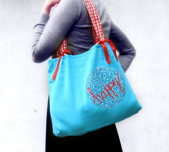 Word bag happy embroidery cotton tote purse turquoise blue red ribbon lettering typography large purse memake handmade handbag
