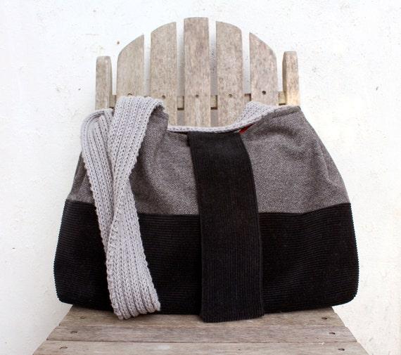 Cross body bag large purse black corduroy grey wool tweed knitted strap messenger style memake handmade