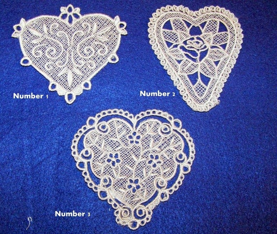 Set Of Three Silver Free Standing Lace Hearts Great to Place On Kind Of Items