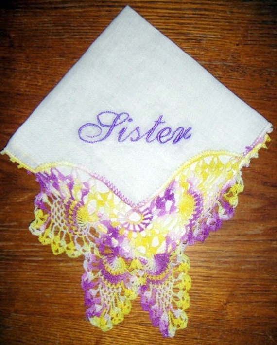 Sister Yellow and Purple Butterfly Crochet Vintage Hankie