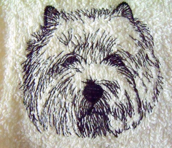 Cairn Terrier Wipe My Paws Ivory Bath Hand Towel Machine Embroidery
