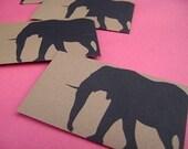 SALE Black and Brown Envelopes - Elephants (Set of 6)
