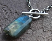 Oxidized Sterling Silver Toggle Labradorite Necklace