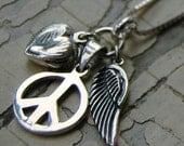 Sterling Silver Locket Peace Sign Angel Wing Long Trinket Necklace