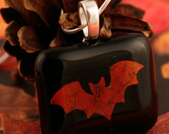 Fused Glass Bat Pendant No. 22681