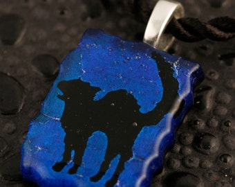 Fused Glass Scaredy Cat Pendant No. 22673