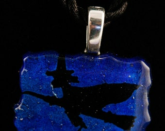 Dichroic Fused Glass Flying Witch Pendant No. 22651