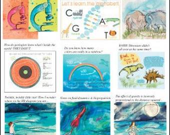 Set of TEN Nerdy Baby science art prints -- holy moly it's a crazy insanely good deal