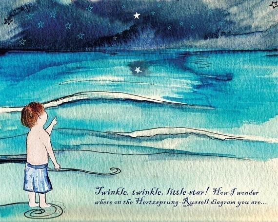 Nerd art - Hertzprung-Russell diagram , astronomy, stars, science