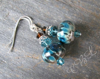Blue Green Fizz - Artisan Lampwork Glass, Crystal And Sterling Earrings