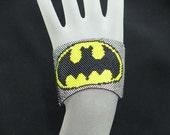 Peyote Stitch Bracelet Batman Seed Bead Beaded Batman Wide Cuff Bracelet with Sterling Silver Slide Clasp
