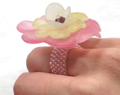 Peyote Stitch Ring Layered Flower Ring - Pink Band Ring - Size 6 - Toho Seed Beaded Ring - Seed Bead Jewelry - Finger Corsage