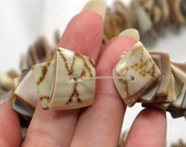 Natural Shell Beads Square Cut Full 16-inch strand Destash Sale