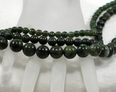 "Green Nephrite Jade Beads Three Full 16"" Strands 6mm 8mm 12mm Destash Sale"