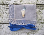 VINTAGE LiNEN KEEPSAKE POUCH with ice cream soda pin