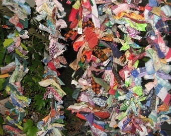 COLORFUL RAG GARLANDs  recycled fabric SHORTER length