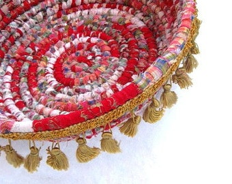 COURTSHIP   textile art basket bowl with TASSEL TRIM
