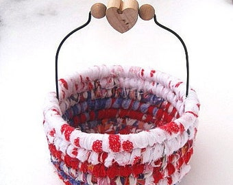 BEGUILING  hand coiled fabric art  BASKET with heart handle