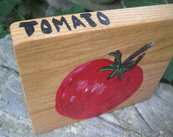 TOMATO Folk art hand painted wood block