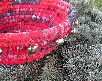 VIXEN  Textile  art BaSKeT  BoWL with bells SANTA'S REINDEER SeRiES