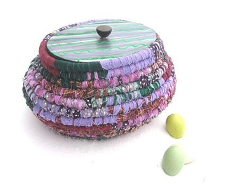 EASTER EGG  textile art BASKET storage tub with hand painted Lid  Number Five