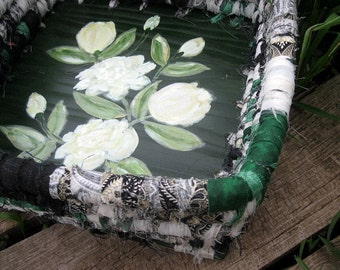WHITE ROSES hand painted coiled fabric BASKET box tray