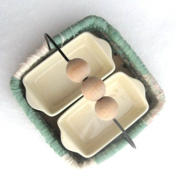 WHITE SAGE  condiment BASKET set  with appetizer dishes