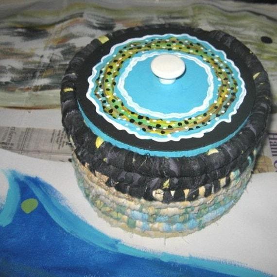 OCEAN TIDE textile art BASKET bucket