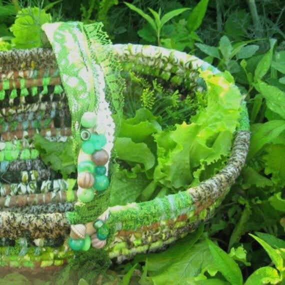 SUMMER SALAD textile art BASKET tote