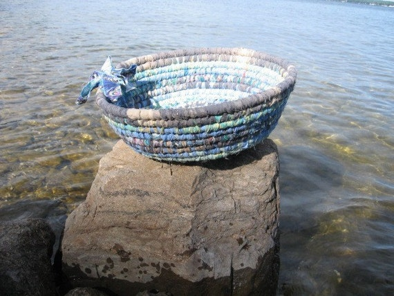 WATERFRONT textile art BASKET bowl