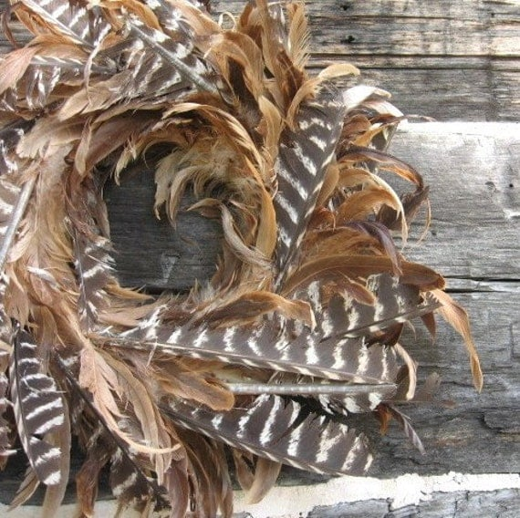 FEATHER WREATH all natural DECORATION