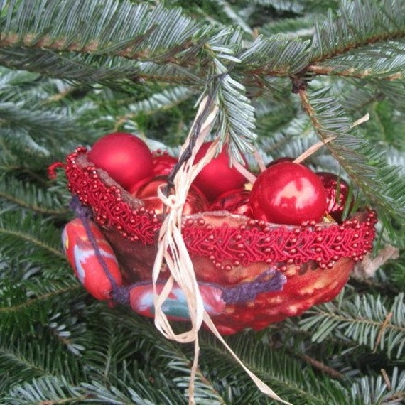 RED GOURD basket Hanging Autumn  or Holiday ORNAMENT