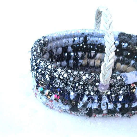 ICE CASTLE  textile art basket  in sparkling sequin and silver  Winter Series