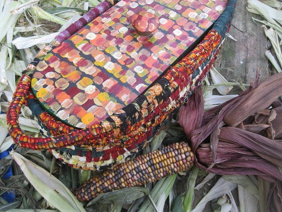 INDIAN CORN  BASKET  Farmers Market Series with hand painted LiD