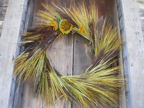 Plume Wreath Ornamental Grass Decoration For Door Or Wall