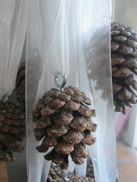 PINE CONE RIBBONS  natural hanging  Decoration Great for woodland weddings