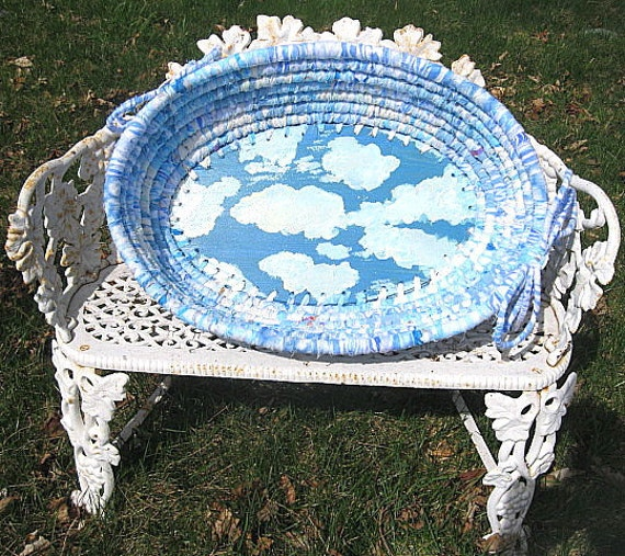 SWEET DREAMS  large  textile art oval BASKET BoWL
