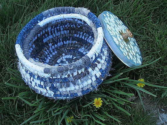 DANDELION SEEDS textile art BASKET with hand painted LiD  Seeds & Bees Series