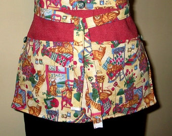 Womens Gardening Farm Market Vendor or Utility Apron  Cats  Crafts Cooking Kitchen