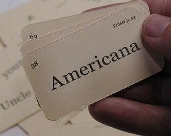 Mini Americana flash card tag set